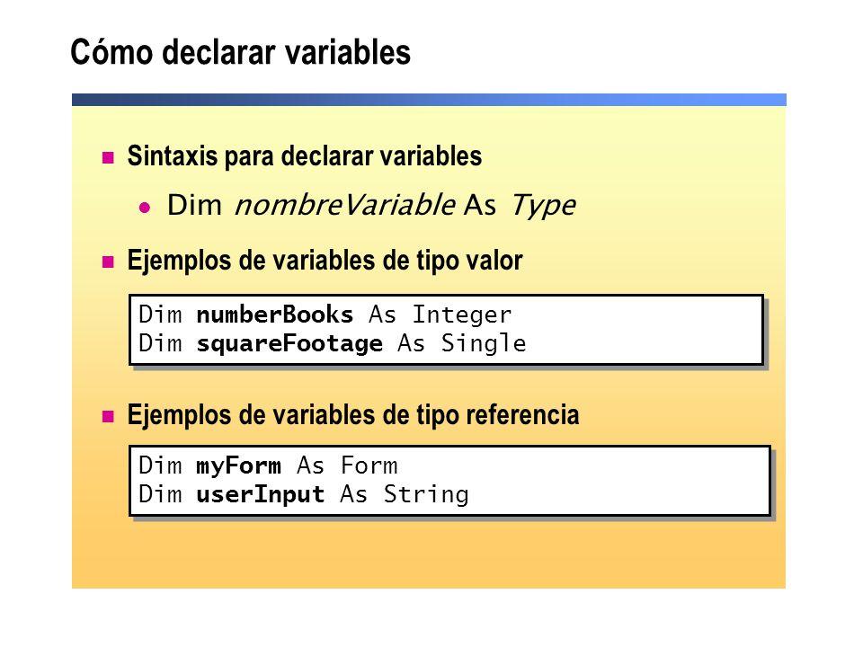 Cómo declarar variables