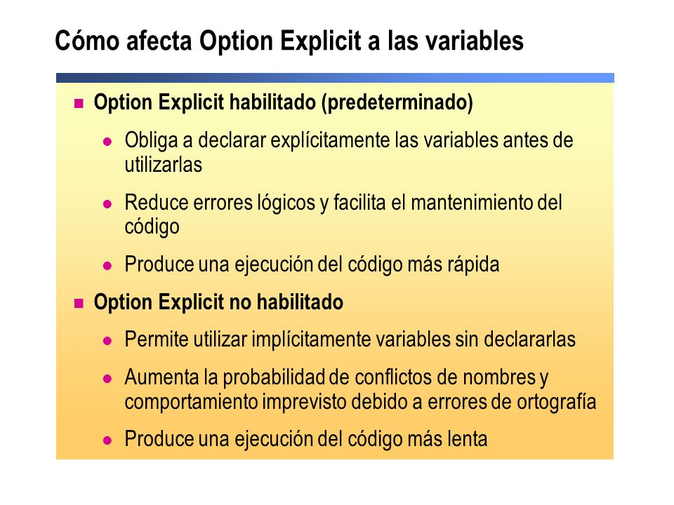 Cómo afecta Option Explicit a las variables