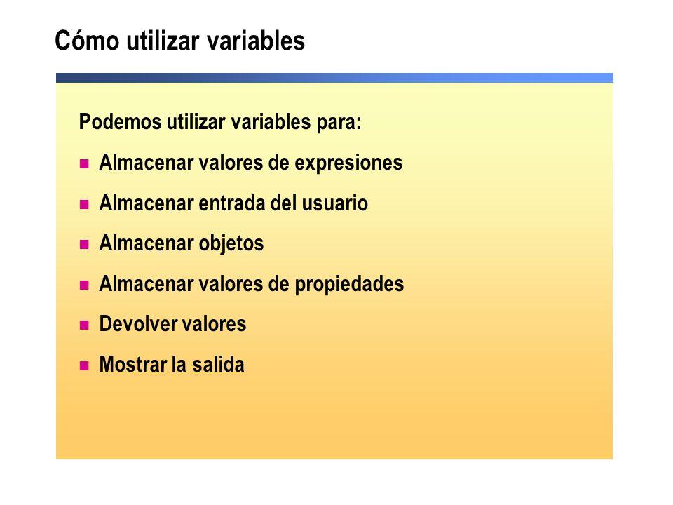 Cómo utilizar variables