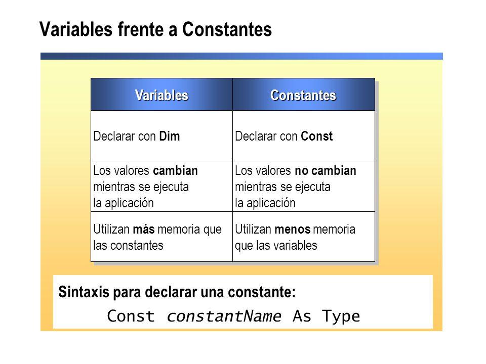 Variables frente a Constantes