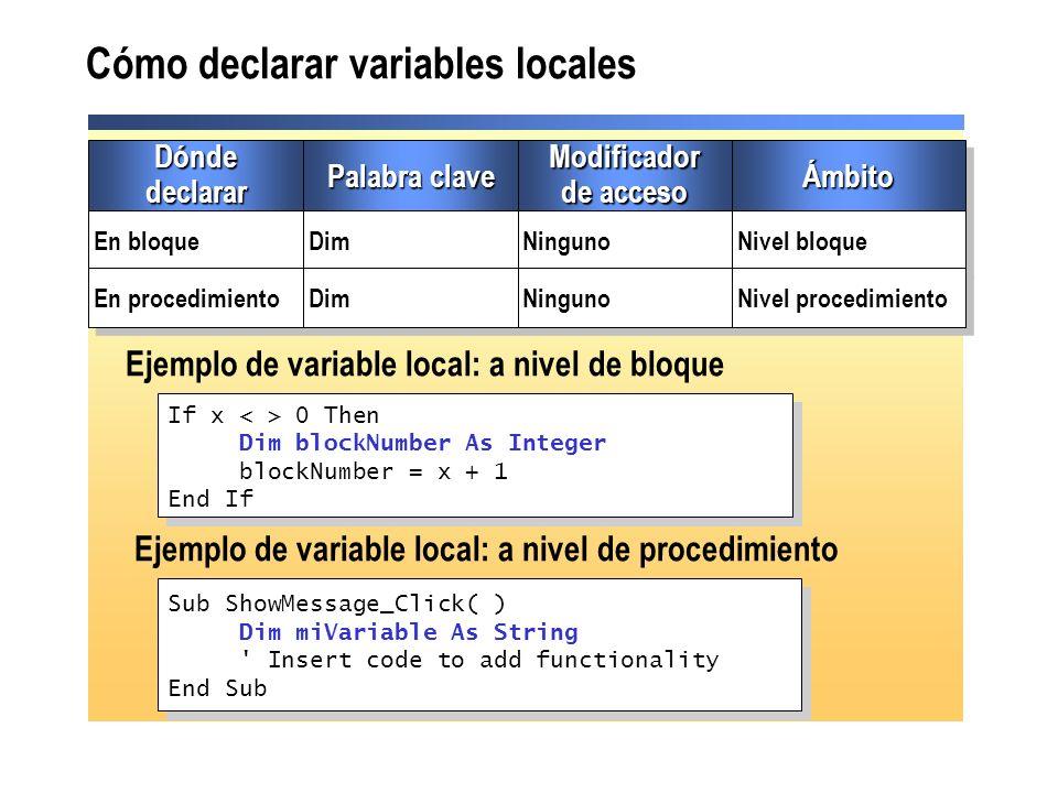 Cómo declarar variables locales