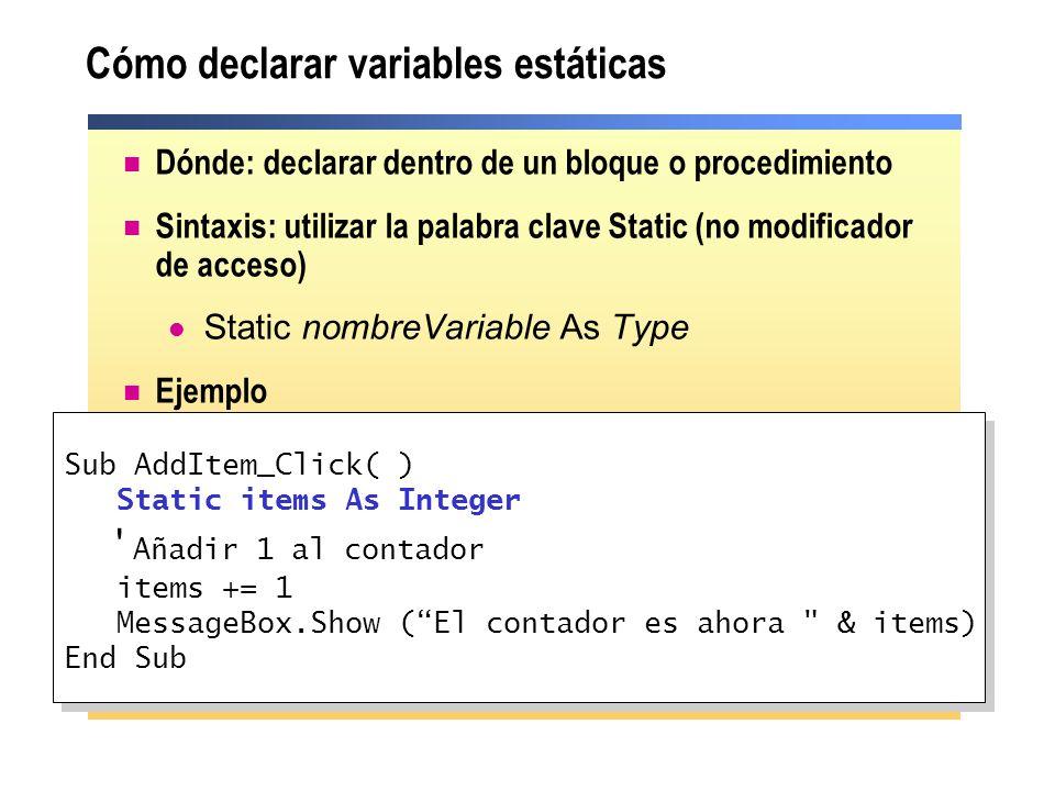Cómo declarar variables estáticas
