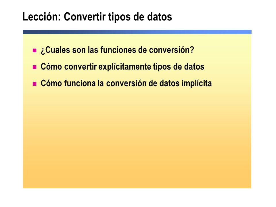 Lección: Convertir tipos de datos