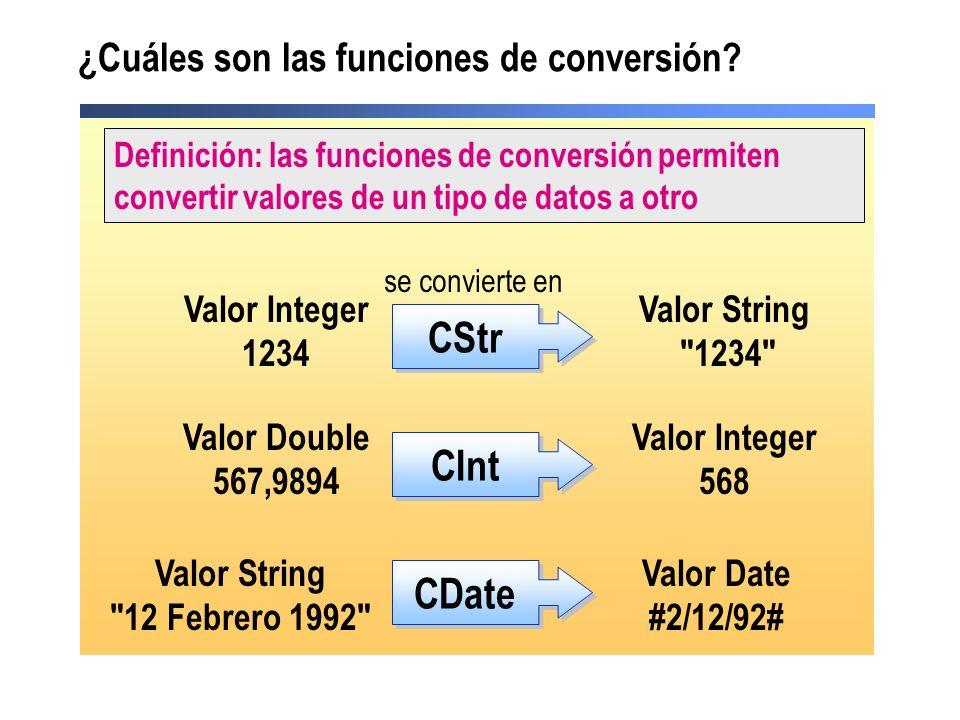¿Cuáles son las funciones de conversión