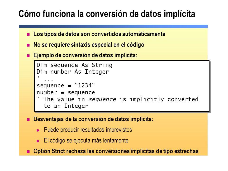 Cómo funciona la conversión de datos implícita