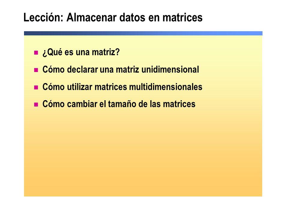 Lección: Almacenar datos en matrices