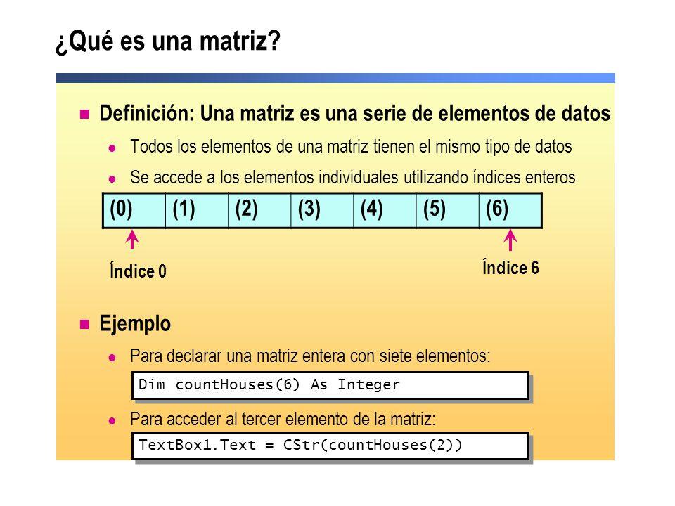 ¿Qué es una matriz Definición: Una matriz es una serie de elementos de datos. Todos los elementos de una matriz tienen el mismo tipo de datos.