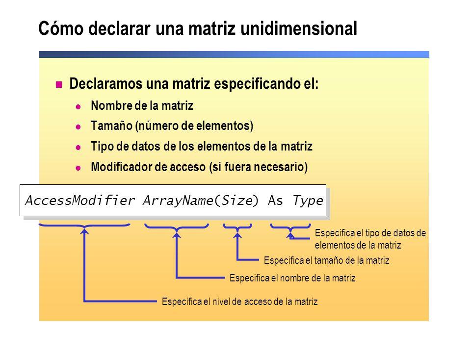 Cómo declarar una matriz unidimensional