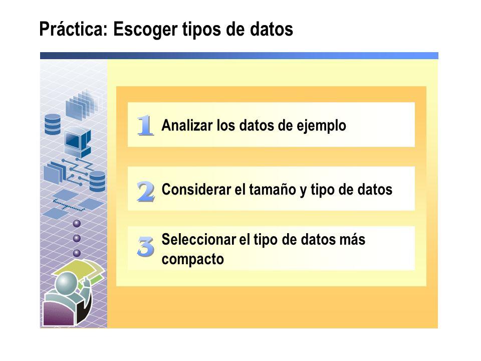Práctica: Escoger tipos de datos