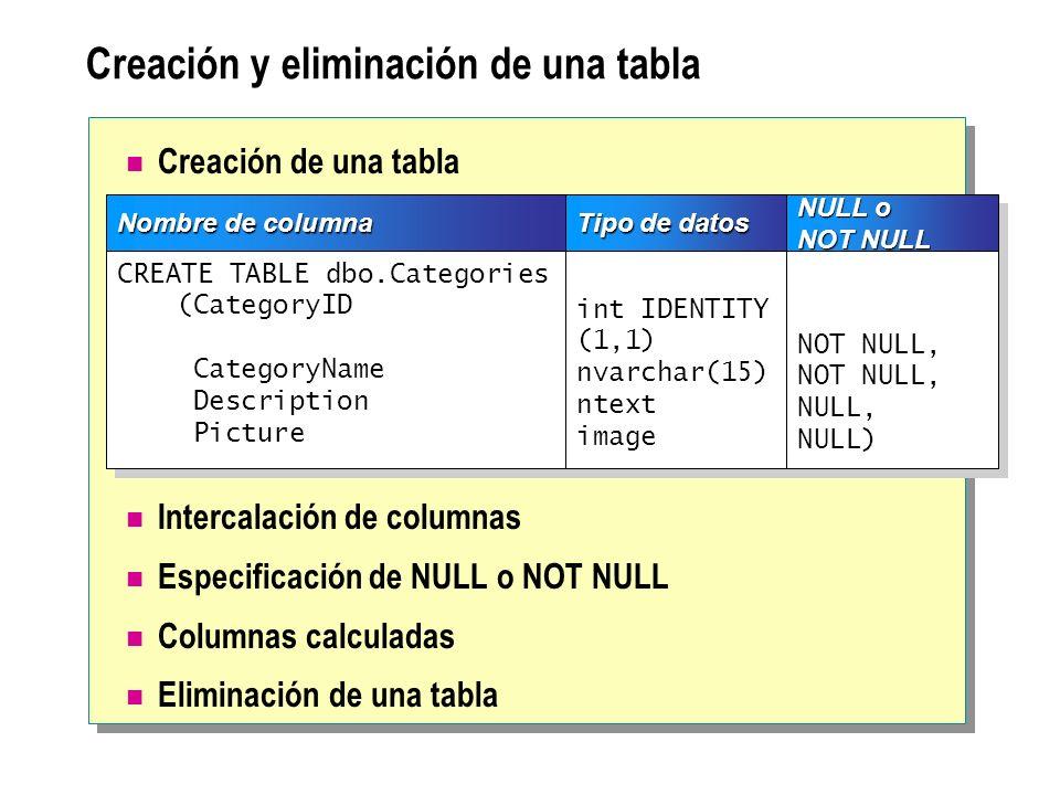 Creación y eliminación de una tabla