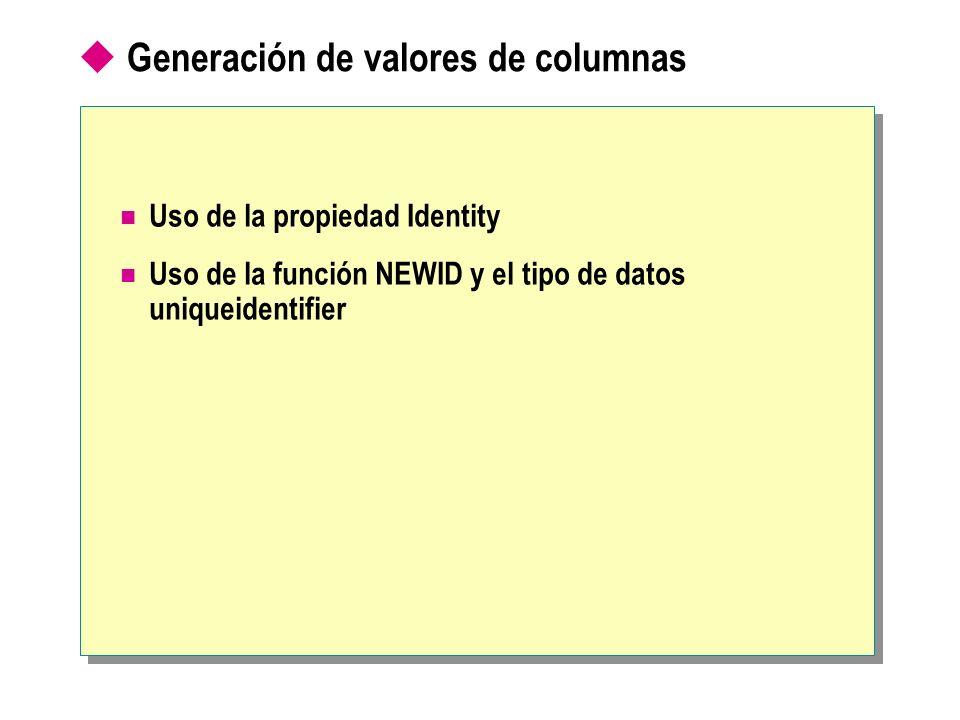 Generación de valores de columnas