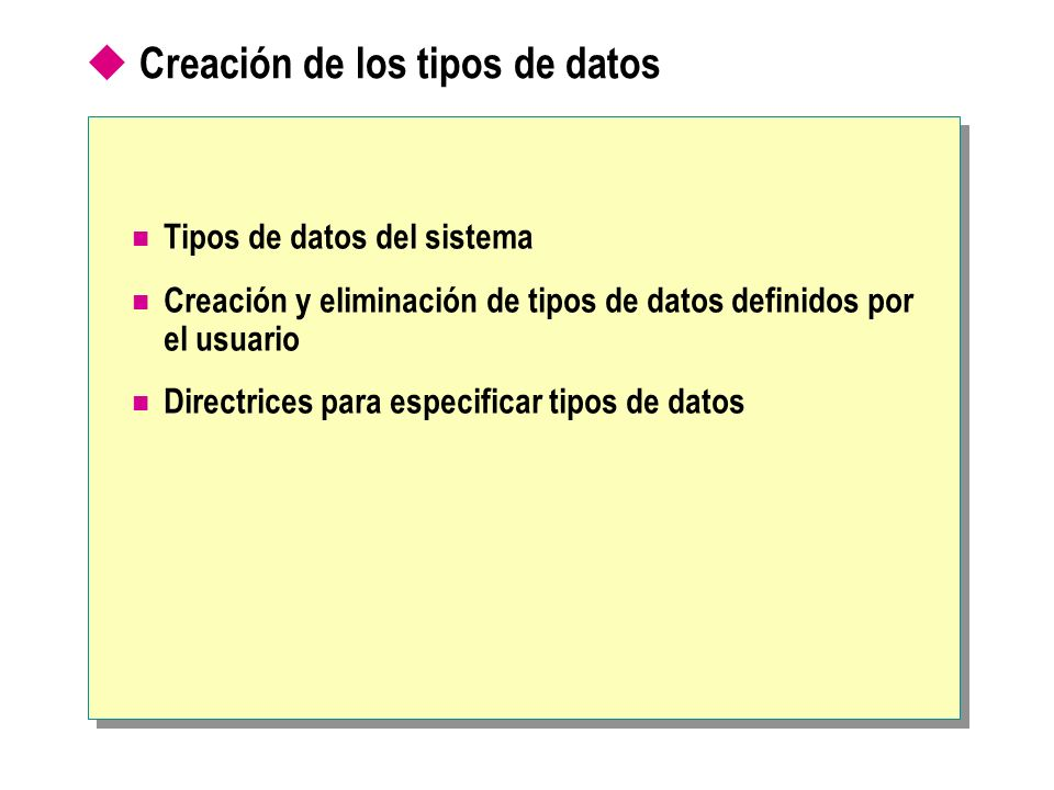 Creación de los tipos de datos
