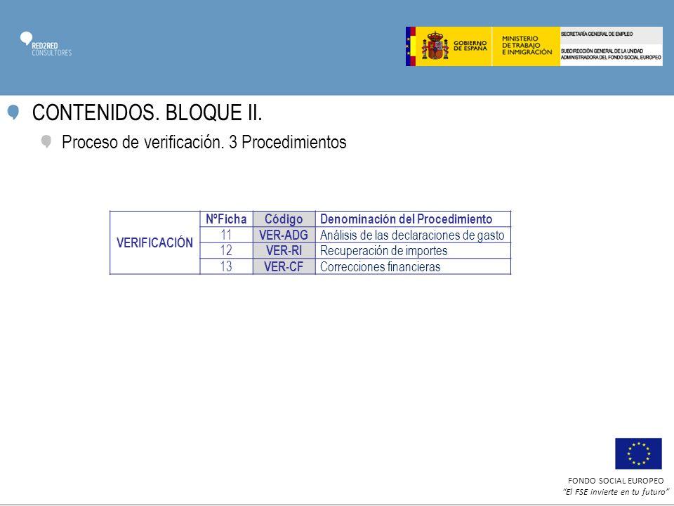 CONTENIDOS. BLOQUE II. Proceso de verificación. 3 Procedimientos