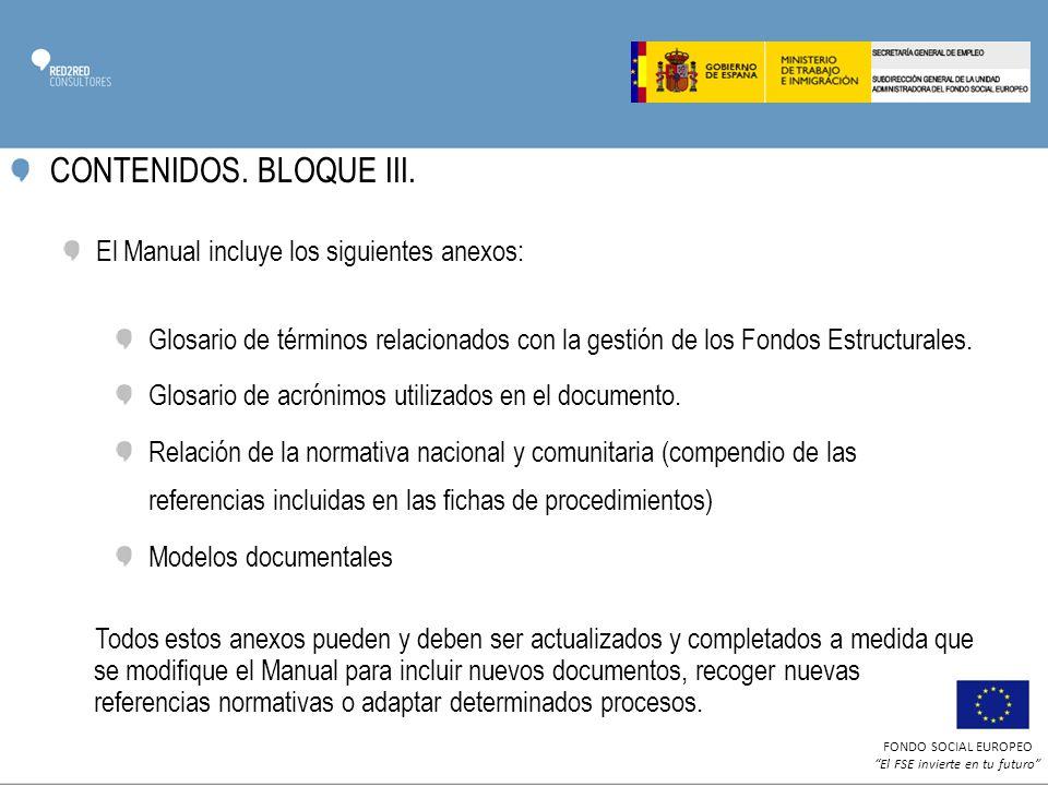 CONTENIDOS. BLOQUE III. El Manual incluye los siguientes anexos: