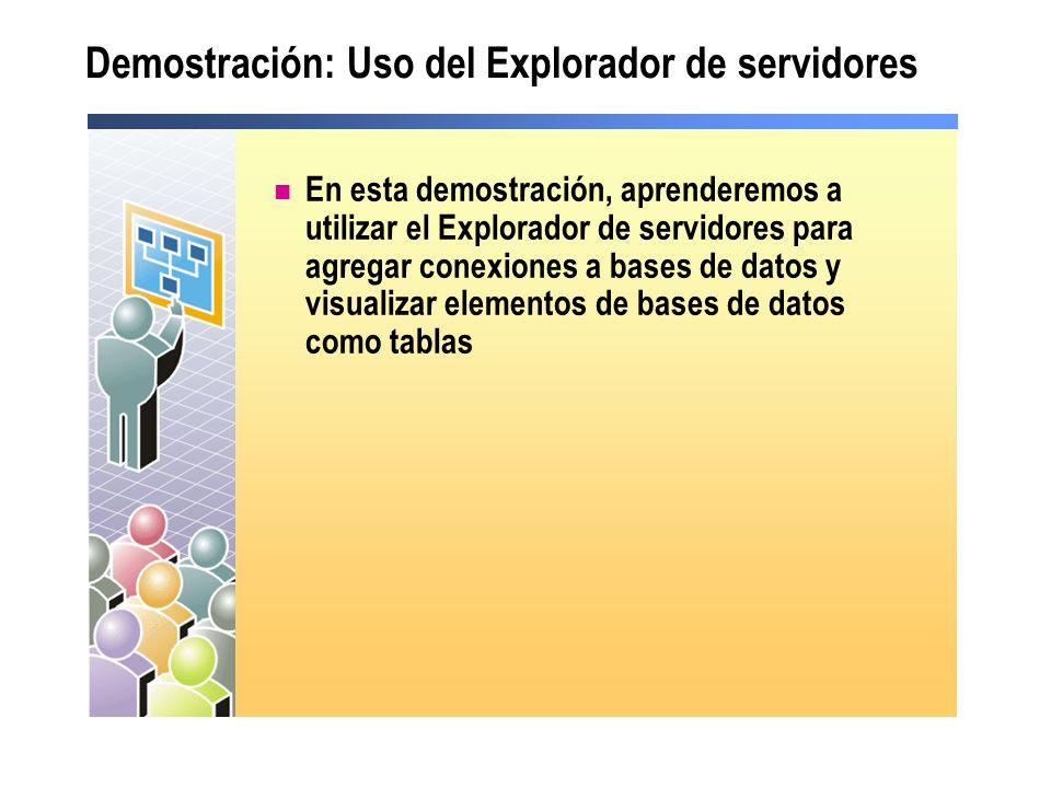 Demostración: Uso del Explorador de servidores