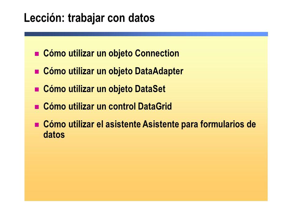 Lección: trabajar con datos