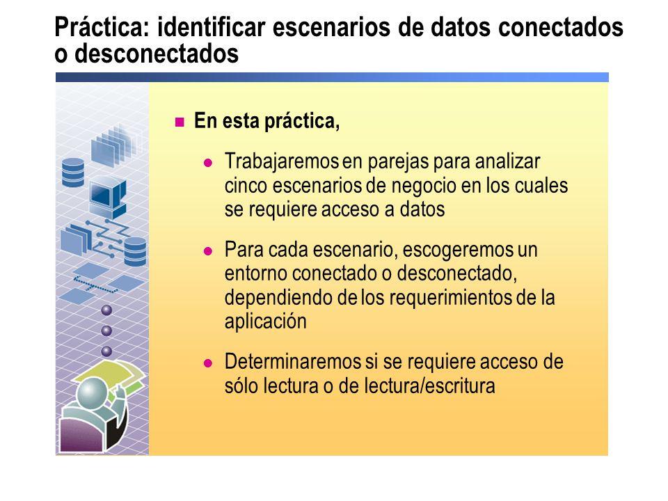 Práctica: identificar escenarios de datos conectados o desconectados