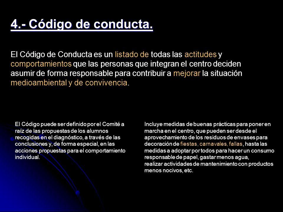 4.- Código de conducta.