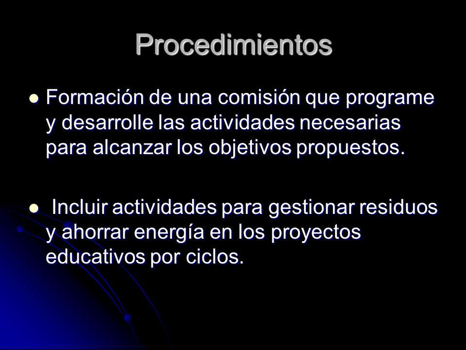 Procedimientos Formación de una comisión que programe y desarrolle las actividades necesarias para alcanzar los objetivos propuestos.