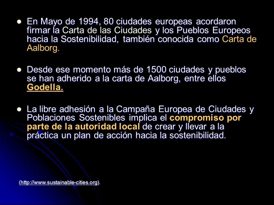 En Mayo de 1994, 80 ciudades europeas acordaron firmar la Carta de las Ciudades y los Pueblos Europeos hacia la Sostenibilidad, también conocida como Carta de Aalborg.