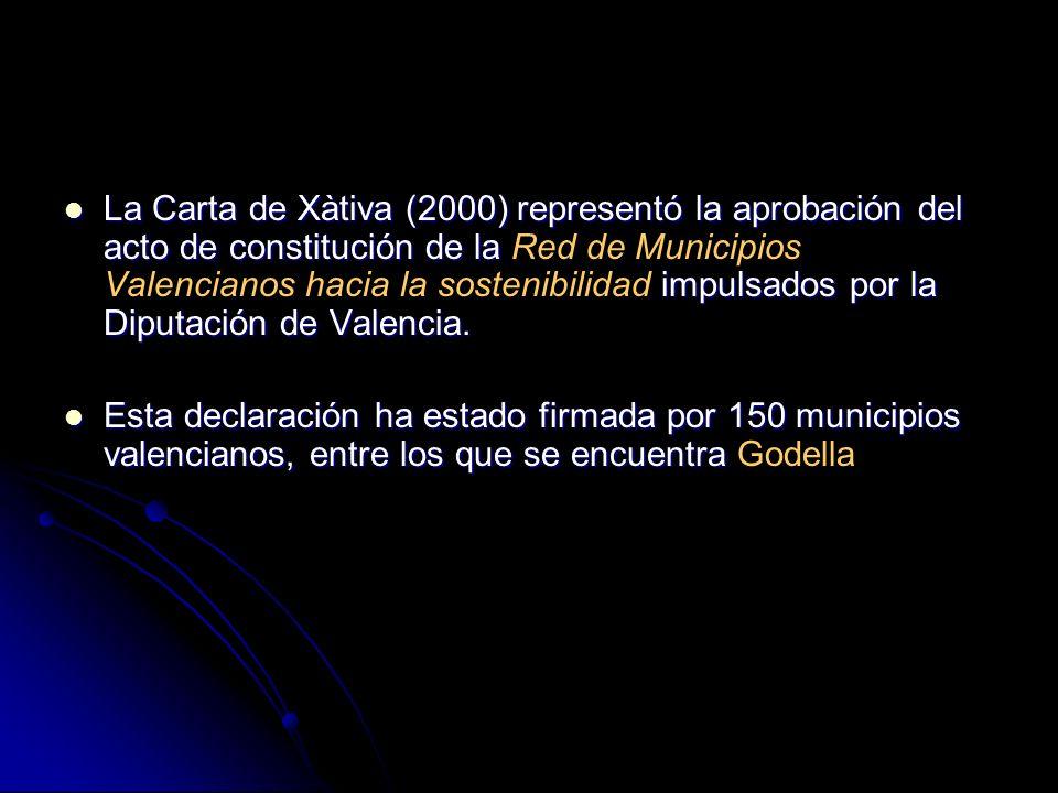 La Carta de Xàtiva (2000) representó la aprobación del acto de constitución de la Red de Municipios Valencianos hacia la sostenibilidad impulsados por la Diputación de Valencia.