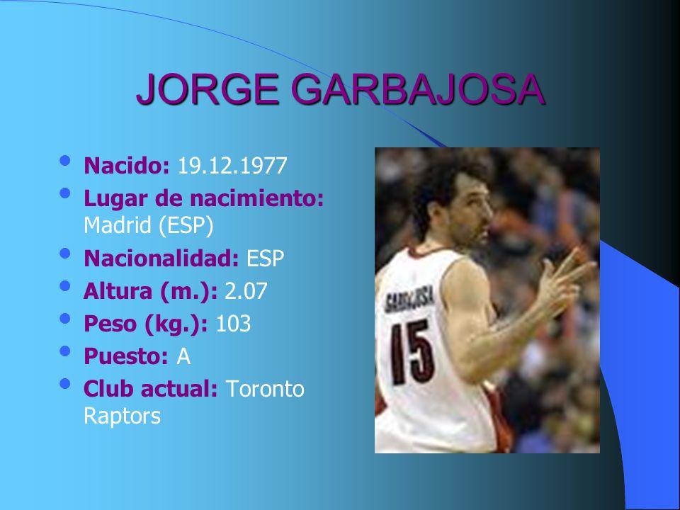 JORGE GARBAJOSA Nacido: 19.12.1977 Lugar de nacimiento: Madrid (ESP)
