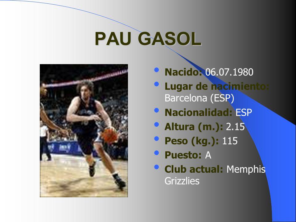 PAU GASOL Nacido: 06.07.1980 Lugar de nacimiento: Barcelona (ESP)