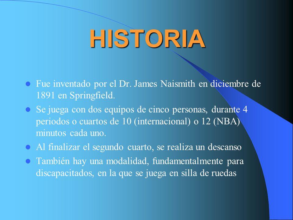 HISTORIA Fue inventado por el Dr. James Naismith en diciembre de 1891 en Springfield.