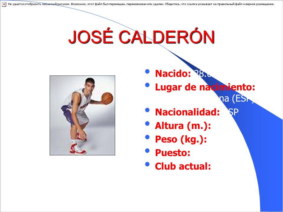 JOSÉ CALDERÓNNacido: 28.09.1981. Lugar de nacimiento: Villanueva Serena (ESP) Nacionalidad: ESP. Altura (m.): 1.90.