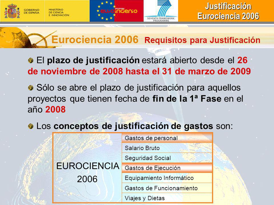 Eurociencia 2006 Requisitos para Justificación