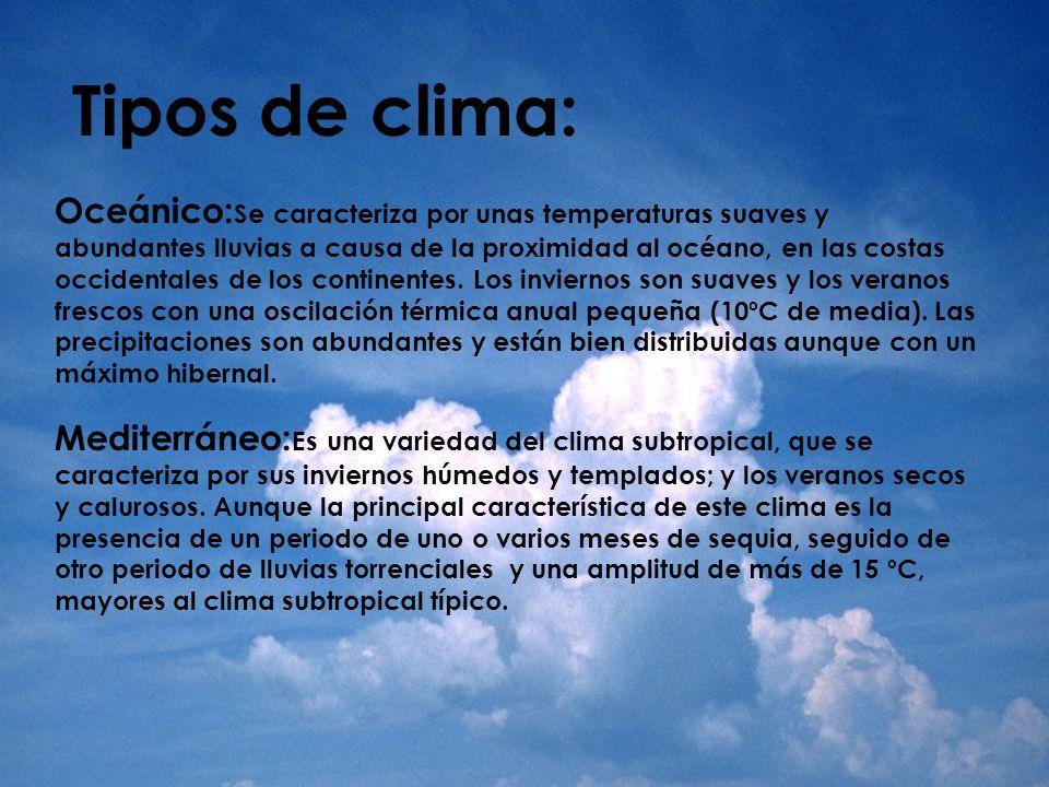 Tipos de clima: