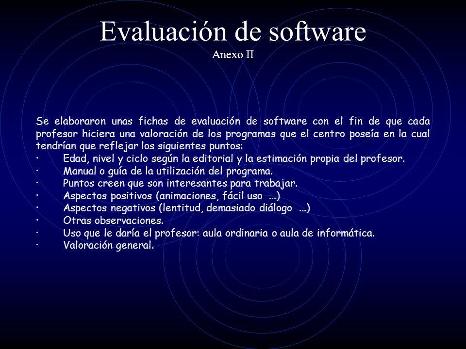Evaluación de software Anexo II