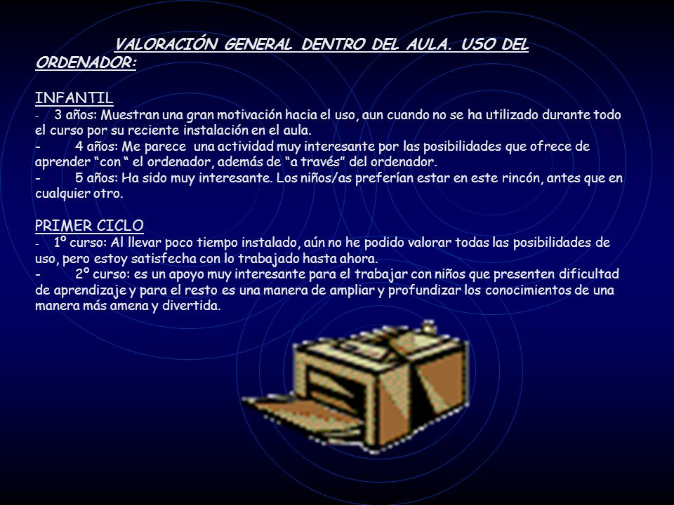 VALORACIÓN GENERAL DENTRO DEL AULA. USO DEL ORDENADOR: