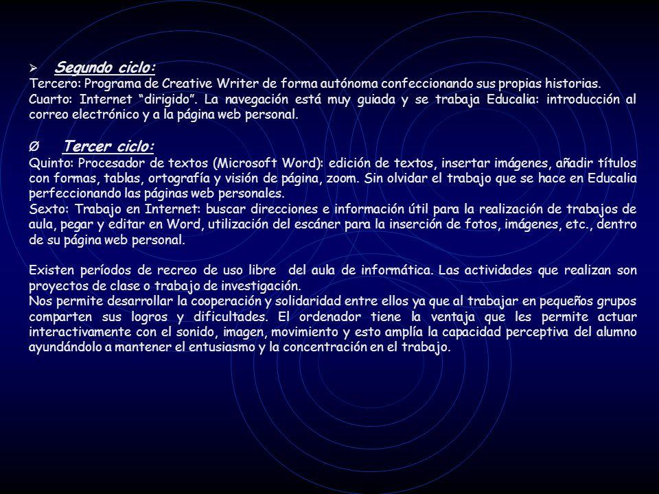 Ø Segundo ciclo: Tercero: Programa de Creative Writer de forma autónoma confeccionando sus propias historias.
