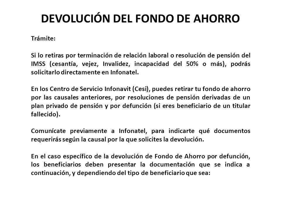 DEVOLUCIÓN DEL FONDO DE AHORRO
