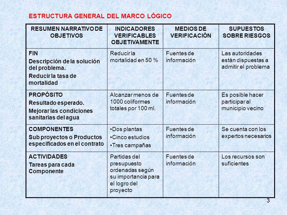 ESTRUCTURA GENERAL DEL MARCO LÓGICO