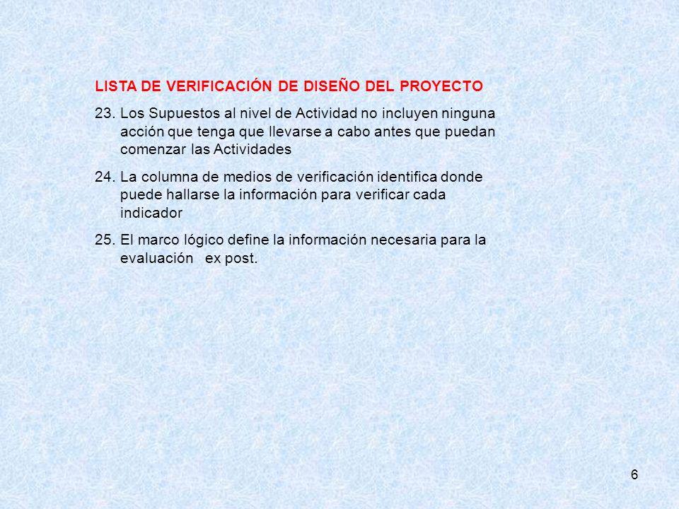LISTA DE VERIFICACIÓN DE DISEÑO DEL PROYECTO