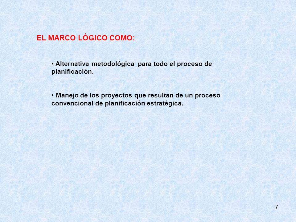 EL MARCO LÓGICO COMO: Alternativa metodológica para todo el proceso de planificación.