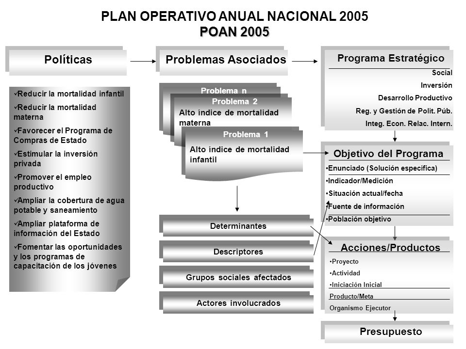 PLAN OPERATIVO ANUAL NACIONAL 2005 POAN 2005 Grupos sociales afectados