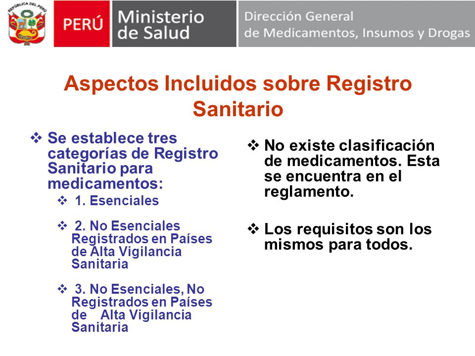 Aspectos Incluidos sobre Registro Sanitario