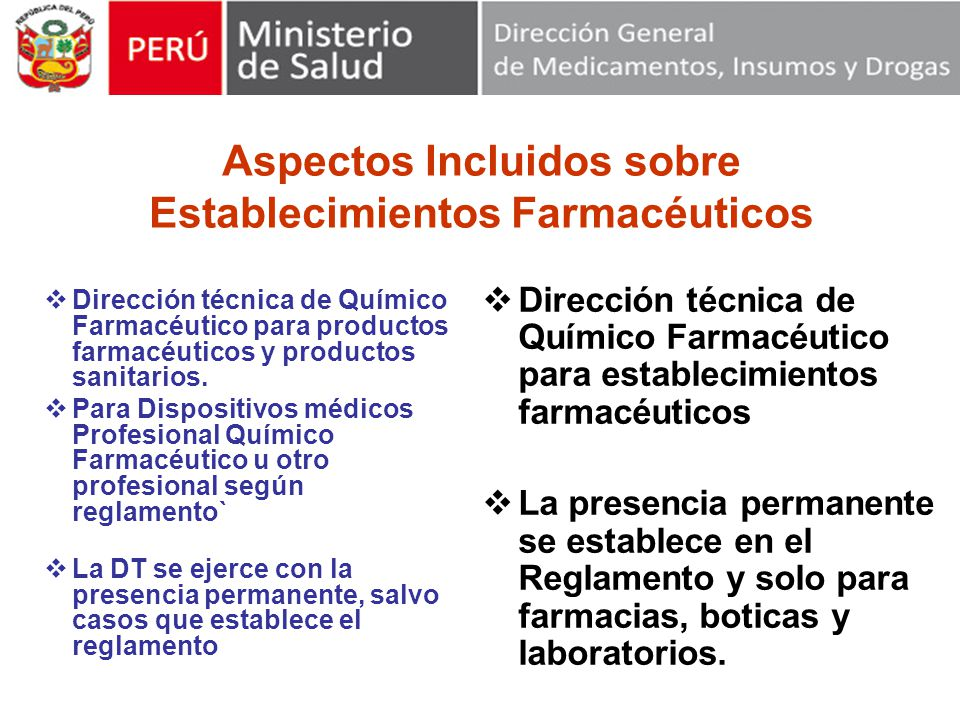 Aspectos Incluidos sobre Establecimientos Farmacéuticos
