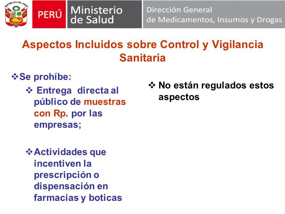 Aspectos Incluidos sobre Control y Vigilancia Sanitaria