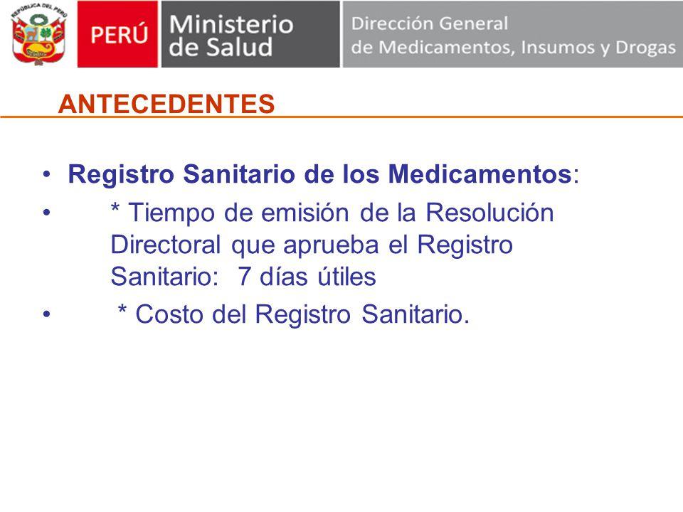 Registro Sanitario de los Medicamentos: