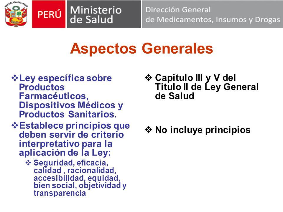 Aspectos Generales Ley específica sobre Productos Farmacéuticos, Dispositivos Médicos y Productos Sanitarios.