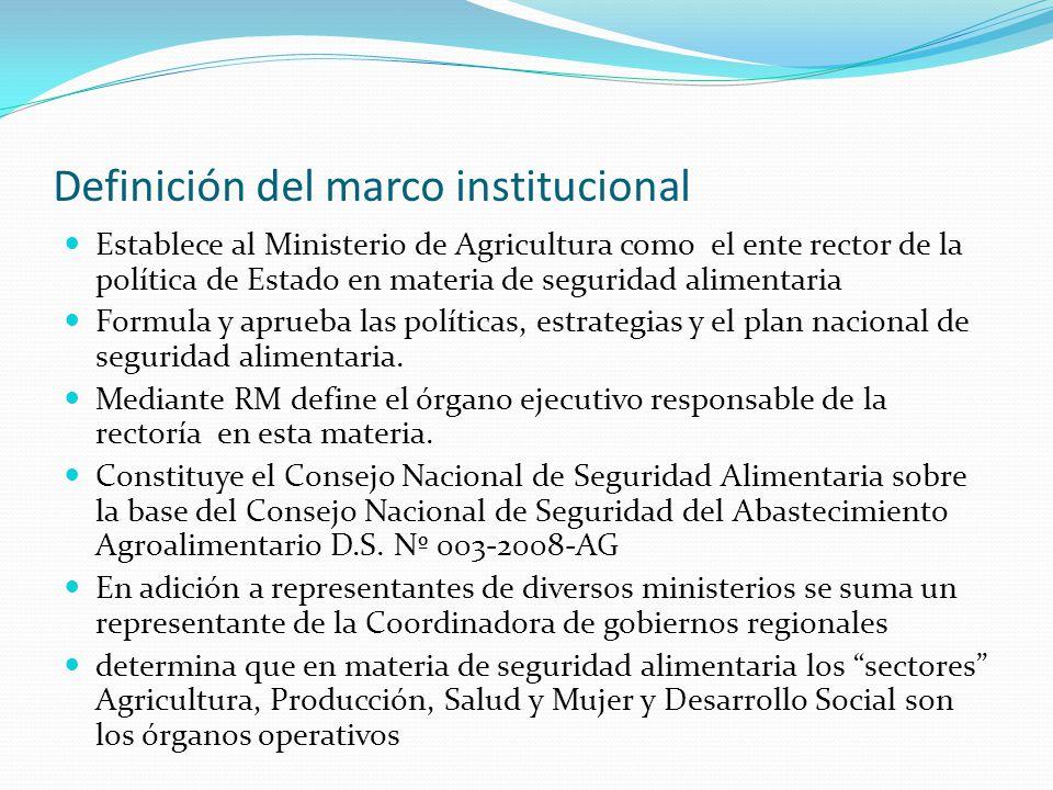 Definición del marco institucional