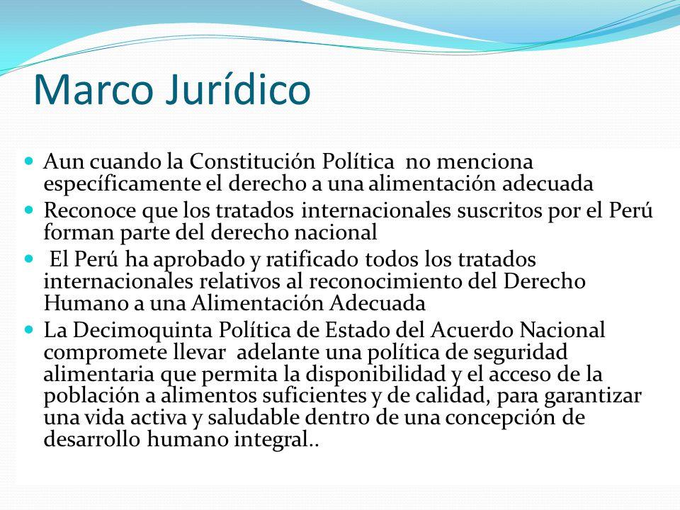 Marco Jurídico Aun cuando la Constitución Política no menciona específicamente el derecho a una alimentación adecuada.