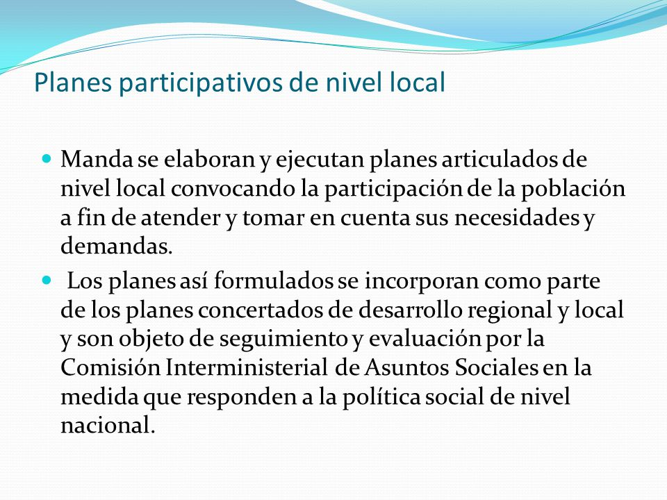 Planes participativos de nivel local
