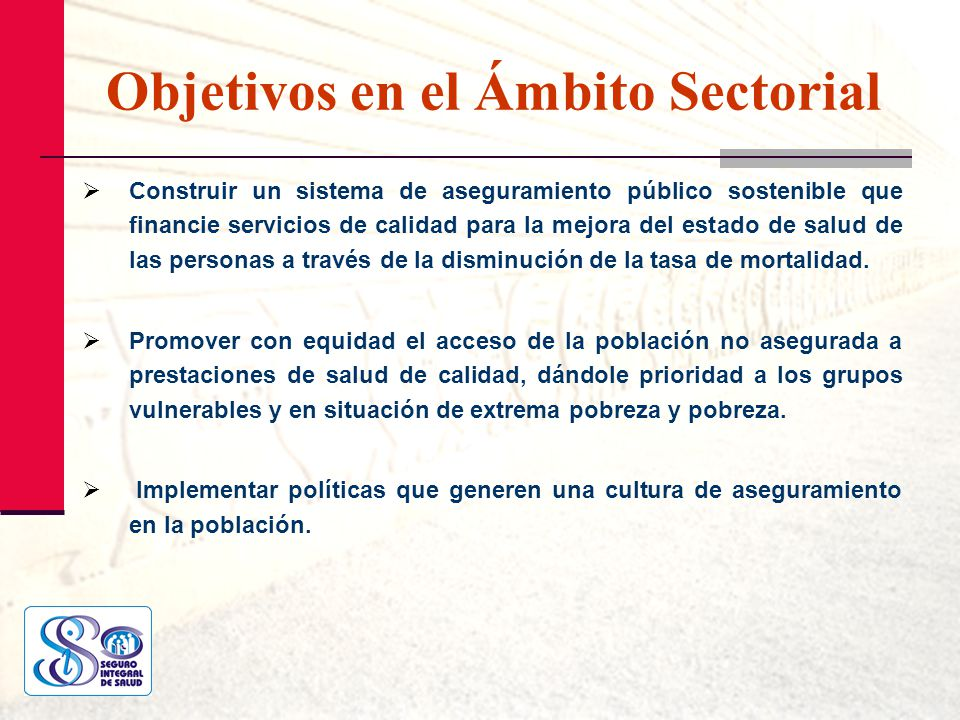 Objetivos en el Ámbito Sectorial