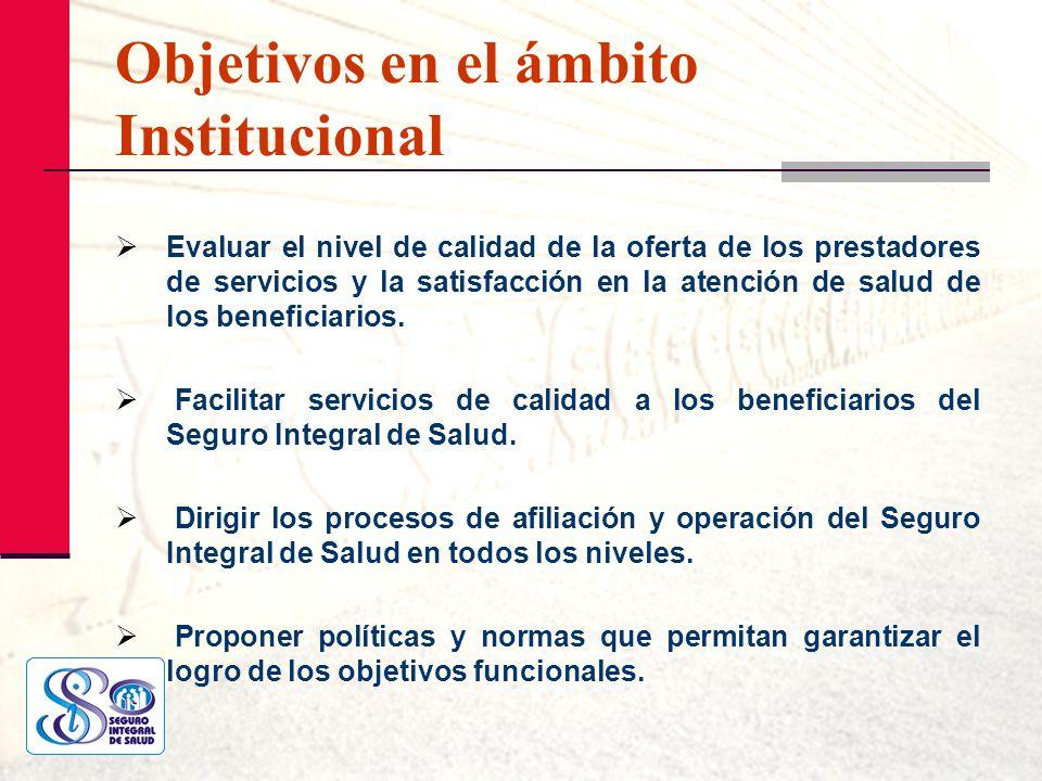 Objetivos en el ámbito Institucional