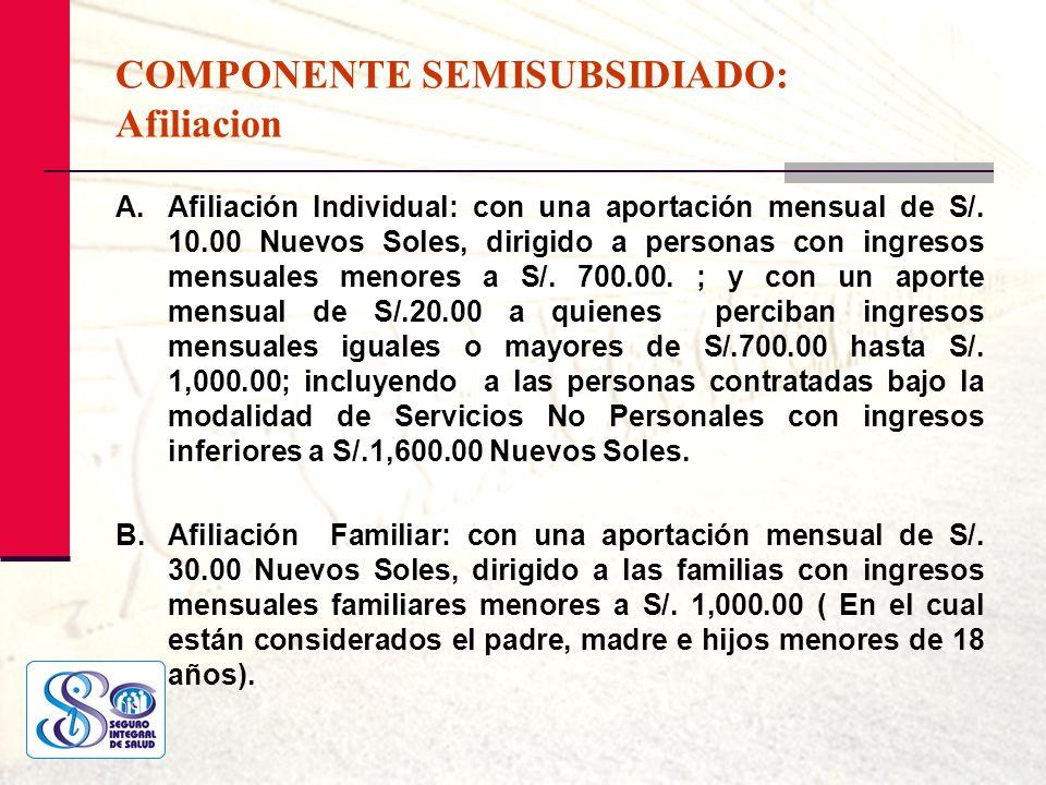 COMPONENTE SEMISUBSIDIADO: Afiliacion